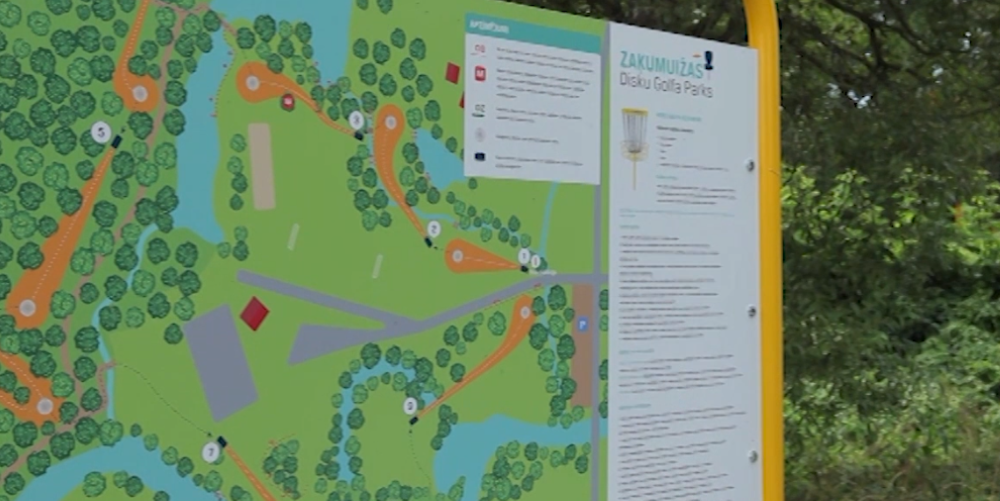 Ropažos pieejams bezmaksas diska golfa laukums